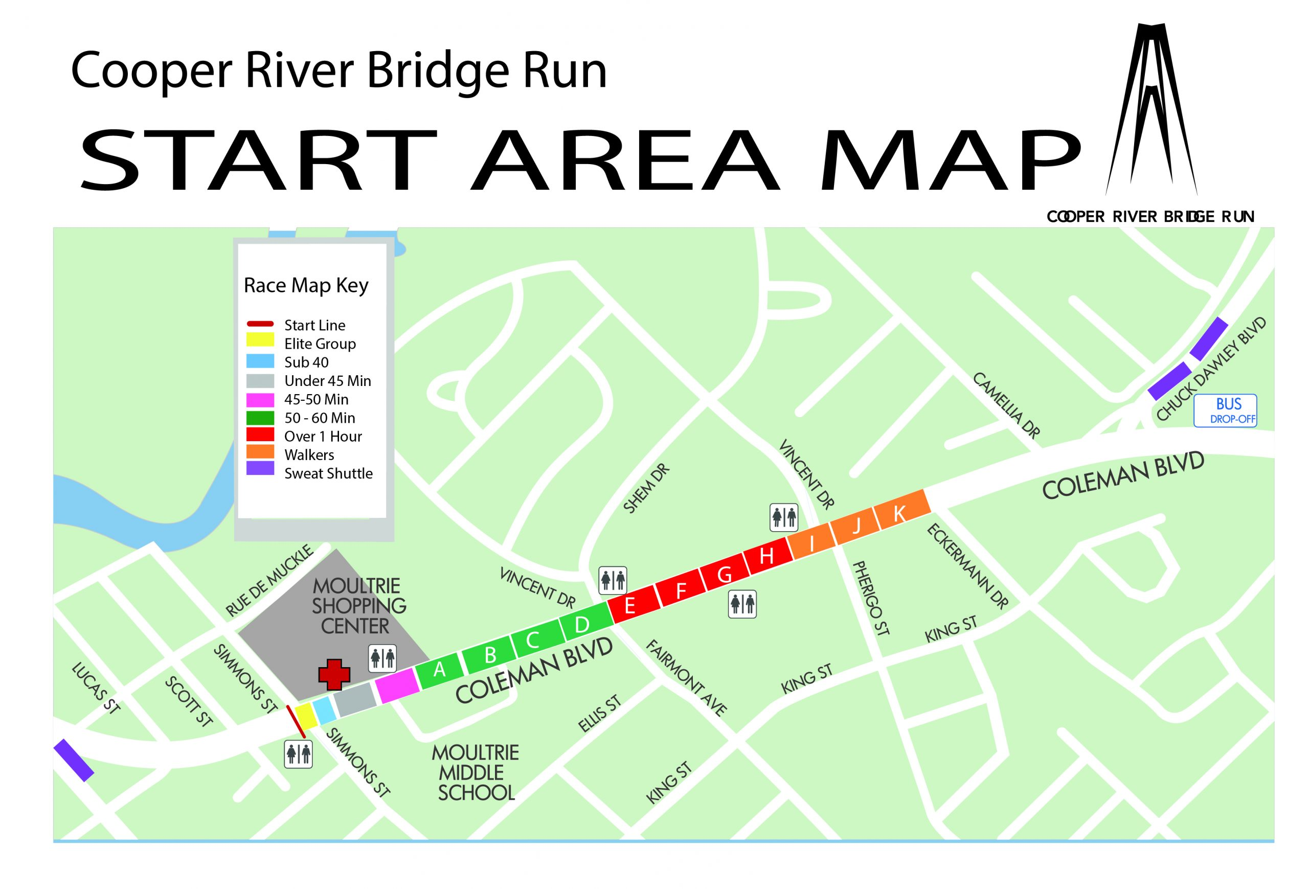 Cooper River Bridge Run Startline - How to map a run